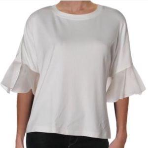 Alexis Silk Ruffled Sleeve Boat Neck Shirt